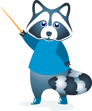 racoon with pointer logo